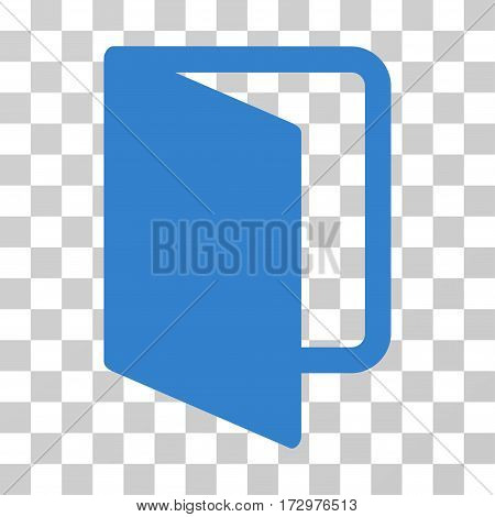 Open Door vector icon. Illustration style is flat iconic cobalt symbol on a transparent background.