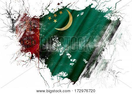 Grunge old Turkmenistan  flag