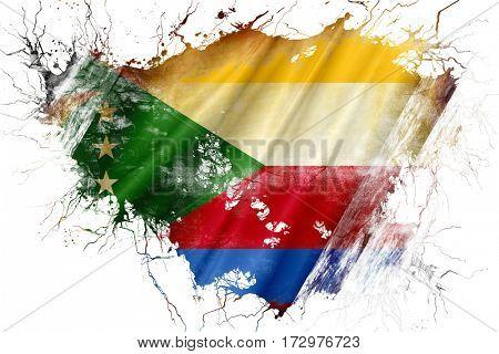 Grunge old Comoros  flag