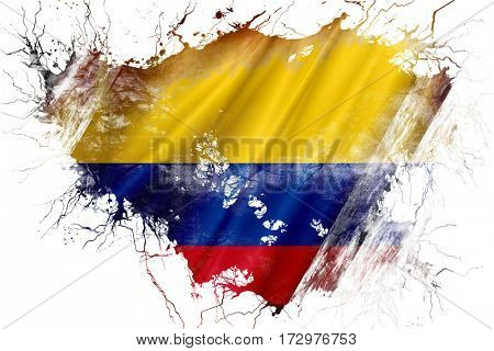 Grunge old Colombia  flag