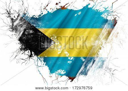 Grunge old Bahamas  flag