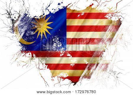 Grunge old Malaysia  flag