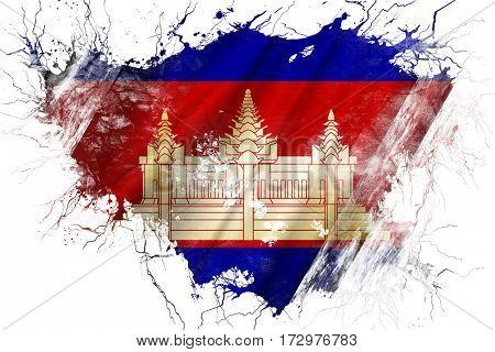 Grunge old Cambodia  flag