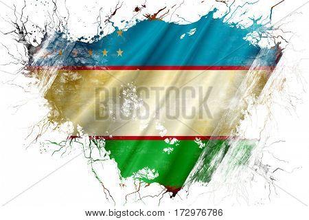 Grunge old Uzbekistan  flag