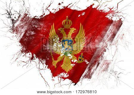 Grunge old Montenegro  flag