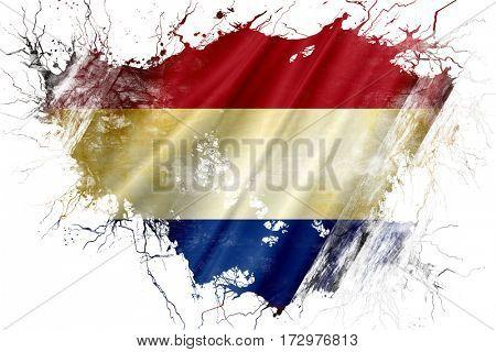 Grunge old Netherlands  flag