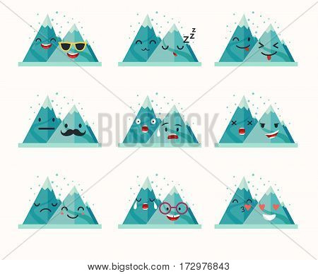 Emoticons mountain vector set. Funny mountain with cute faces characters. Winter landscape. Emoji flat cartoon style vector illustration isolated on white background