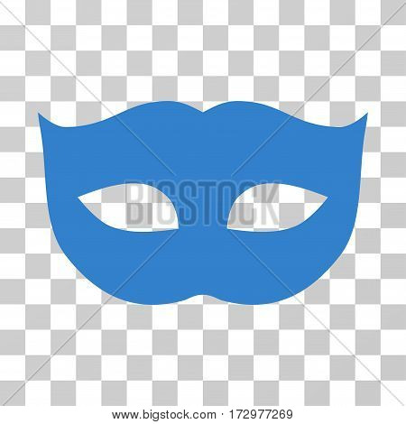 Privacy Mask vector pictogram. Illustration style is flat iconic cobalt symbol on a transparent background.