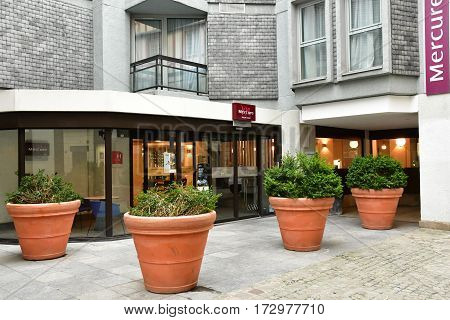 Rouen France - november 26 2016 : hotel in the historical city center in winter