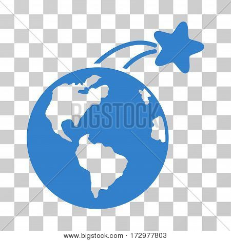 Rising Satellite On Earth vector icon. Illustration style is flat iconic cobalt symbol on a transparent background.