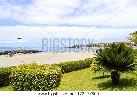 Los Cristianos beach Tenerife Canary Islands Spain Europe - June 13 2016: Los Cristianos garden by the beach