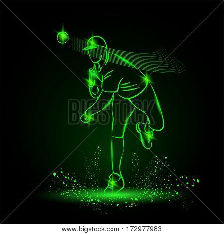 Baseball pitcher throws ball. Vector neon illustration.