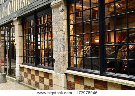 Rouen France - november 26 2016 : cloth shop in the historical city center
