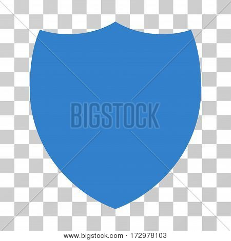 Shield vector icon. Illustration style is flat iconic cobalt symbol on a transparent background.