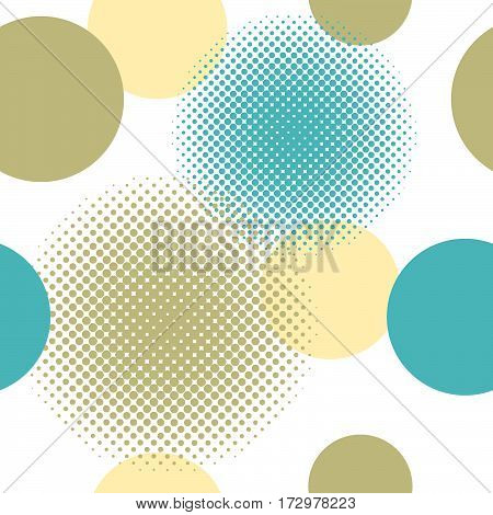 Seamless pattern of circles including halftone effect in colours yellow, olive green and teal