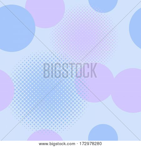 Seamless pattern of circles including halftone effect in shades of blue and mauve