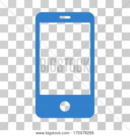 Smartphone vector pictograph. Illustration style is flat iconic cobalt symbol on a transparent background.