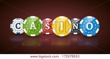 Poker chips with word CASINO. Casino concept of colorful chips