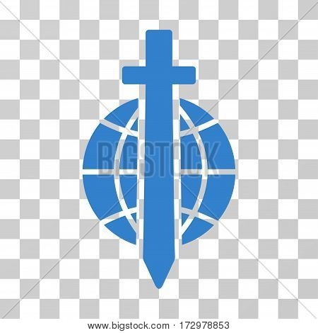 Sword Globe vector icon. Illustration style is flat iconic cobalt symbol on a transparent background.