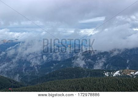 Panoramic views of the beautiful landscape in the Carpathian mountains