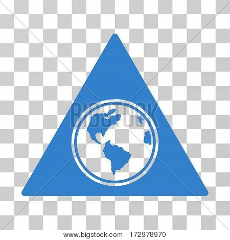Terra Triangle vector icon. Illustration style is flat iconic cobalt symbol on a transparent background.