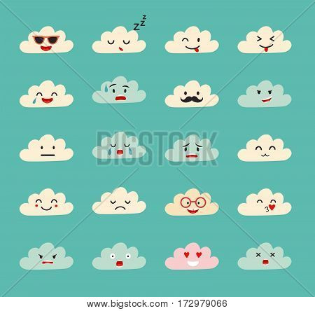 Emoji clouds vector. Cute smily clouds with faces vector set. Cartoon funny emoticon. Flat cartoon style stickers. Isolated on blue sky background