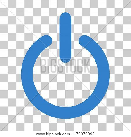 Turn Off vector pictogram. Illustration style is flat iconic cobalt symbol on a transparent background.