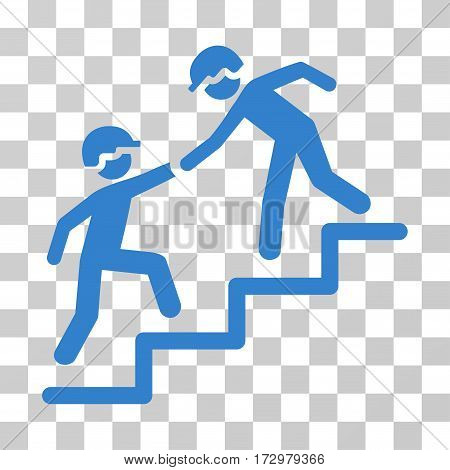 Workers Help vector pictograph. Illustration style is flat iconic cobalt symbol on a transparent background.