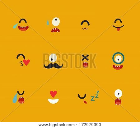 Emoticons vector template. Emoji funny cyclops face icons. Cute emoji template cartoon style. Cute cyclops vector set. Cartoon funny emoticons. Monsters caracters flat cartoon style.
