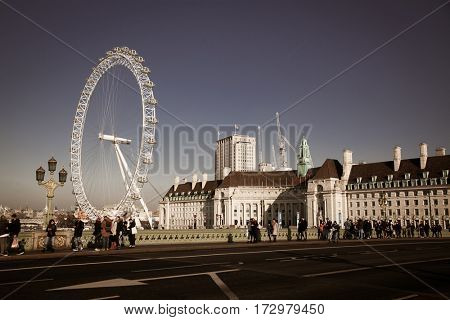 LONDON, UK - JANUARY 26, 2017: The EDF Energy London Eye next to the river Thames, UK