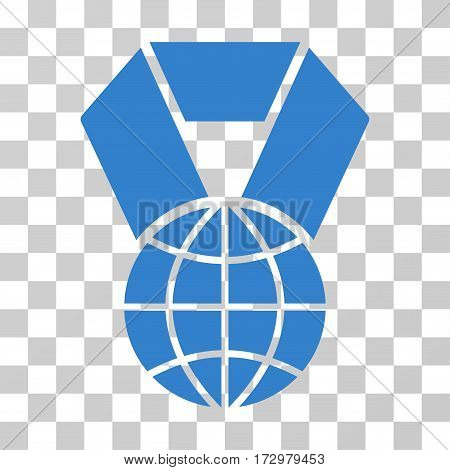 World Award vector pictogram. Illustration style is flat iconic cobalt symbol on a transparent background.