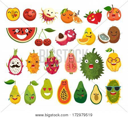 Fruit character vector set. Fruit face illustration. Emoticon food.Tropical fruits with human faces. Isolated on white background