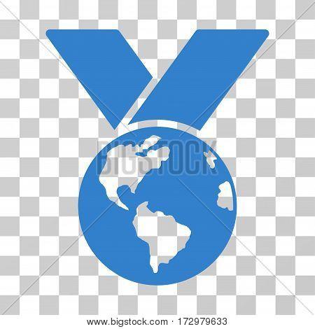 World Medal vector pictogram. Illustration style is flat iconic cobalt symbol on a transparent background.