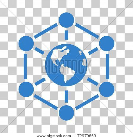 Worldwide Internet vector pictograph. Illustration style is flat iconic cobalt symbol on a transparent background.