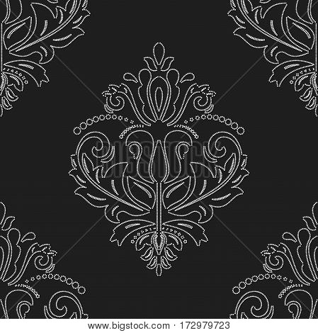 Seamless damask pattern. Traditional classic orient ornament with white outlines on black background