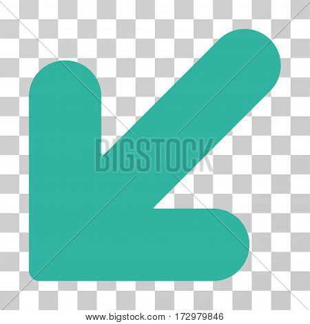 Arrow Down Left vector pictograph. Illustration style is flat iconic cyan symbol on a transparent background.
