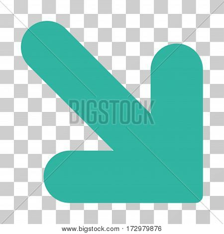 Arrow Down Right vector pictograph. Illustration style is flat iconic cyan symbol on a transparent background.