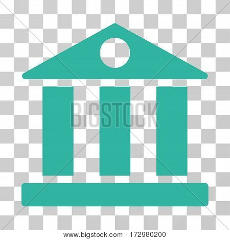 Bank Building vector pictograph. Illustration style is flat iconic cyan symbol on a transparent background.