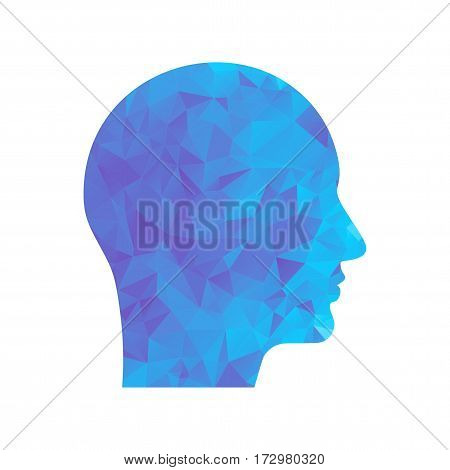 Polygon Blue Icon Head