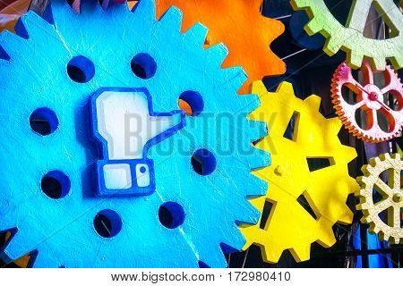 Cento Italy 19 feb 2017: Facebook like symbol on a big gear. Facebook is a famous worldwide web social network