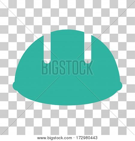 Builder Helmet vector pictogram. Illustration style is flat iconic cyan symbol on a transparent background.
