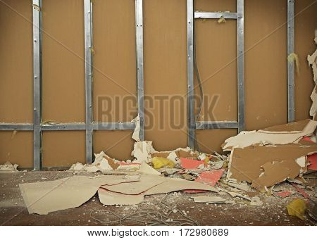 Demolition of wall. Repair concept