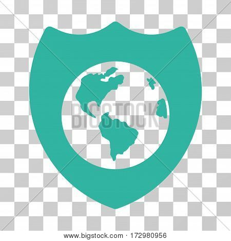 Earth Shield vector pictogram. Illustration style is flat iconic cyan symbol on a transparent background.