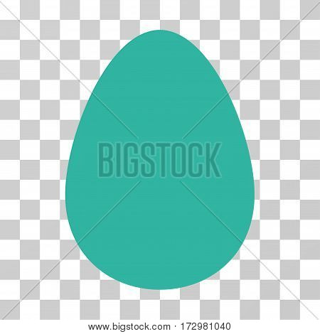 Egg vector pictogram. Illustration style is flat iconic cyan symbol on a transparent background.