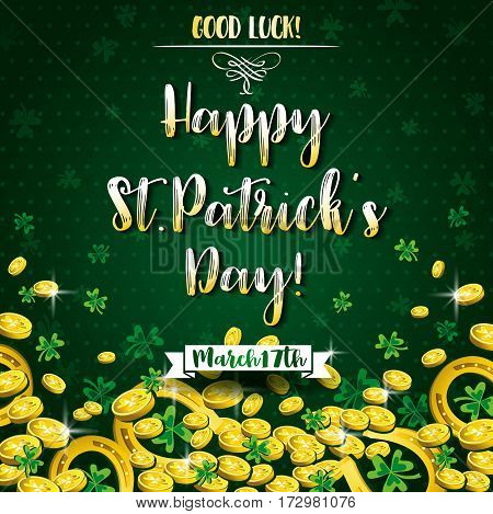 Green background for St Patricks Day with shamrocks horseshoe and golden coins vector illustration.