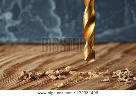 Metal Drill Bit Make Holes In Wooden Oaks Plank
