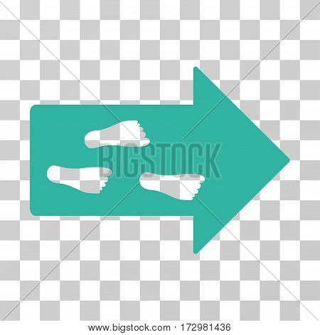 Exit Direction vector pictogram. Illustration style is flat iconic cyan symbol on a transparent background.