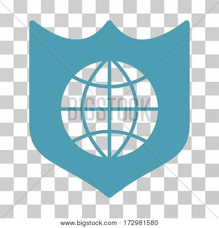 Global Shield vector pictograph. Illustration style is flat iconic cyan symbol on a transparent background.