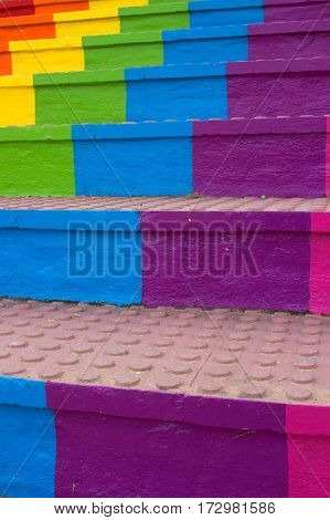 Stairs. Rainbow. Beautiful desing. Architecture. Colorful. City.