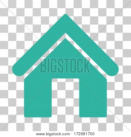 Home vector pictograph. Illustration style is flat iconic cyan symbol on a transparent background.